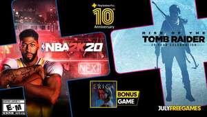 PlayStation Plus - бесплатные игры июля по подписке: NBA 2K20, Rise of the Tomb Raider: 20 Year Celebration и Erica