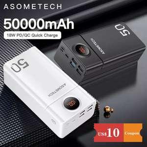 Внешний аккумулятор Asometech, 50000 мАч QC 3,0 PD 18 Вт