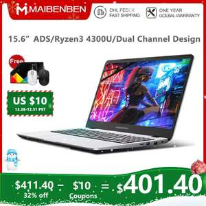 "Ноутбук MAIBENBEN M543 15,6"" IPS FHD, Ryzen 3 4300U, 4G(8G/16G), 128gb SSD(240gb, 480gb)Vega 5,Linux(Windows10)"
