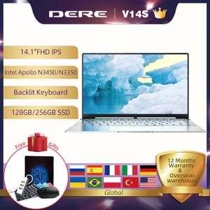 "Ноутбук Dere V14S 14.1"" FHD IPS, Intel Apollo lake N3450, ОЗУ 8 Гб, SSD 256 Гб, ОС Windows 10"