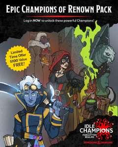 [PC] Набор «Epic Champions of Renown» для Idle Champions бесплатно (за вход в игру)
