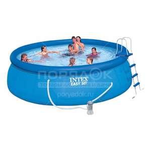 Бассейн надувной Intex Easy Set Pool 26168NP с фильтр-насосом, лестницей, настилом и тентом, 457х122 см