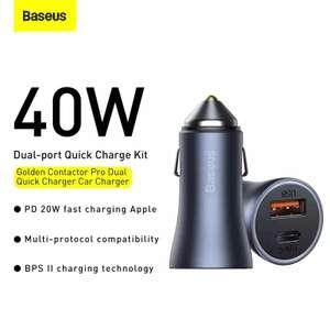 Автомобильное зарядное устройство Baseus 40W на один порт, либо по 20W на два.
