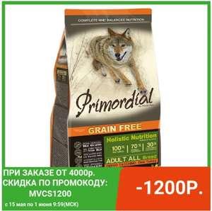 Primordial корм для взрослых собак всех пород, оленина, индейка 12 кг на Tmall
