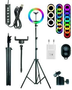 Кольцевая LED-лампа 26 см zKissFashion RGB цветная со штативом держателем для телефона и селфи-пультом. Модель 123296