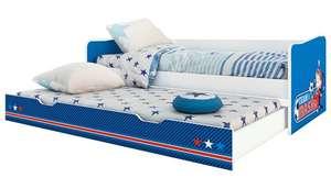 Подростковая кровать Polini kids Fun 4200 выдвижная Маша и Медведь синий