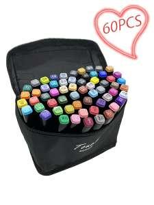 Набор двусторонних маркеров для скетчинга MIKI 60 цветов