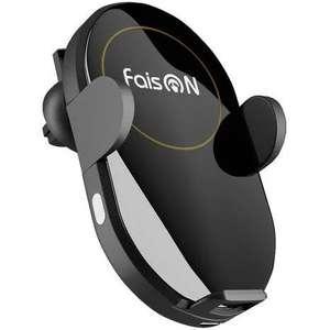 Автомобильный держатель FaisON STREAM Черный с беспроводной зарядкой для телефона (с сенсором)