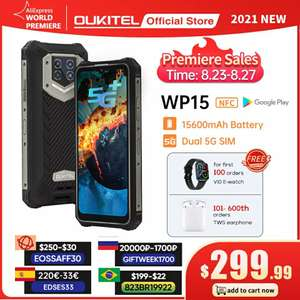 Смартфон Oukitel WP15 15600 мАч, 8 ГБ + 128 ГБ, 5G