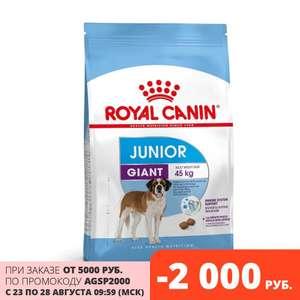 Скидка 2000₽ на корма для животных, например Royal Canin Giant Junior 15 кг