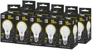 Упаковка светодиодных ламп 10 шт. ASD LED-A60-black 3000К, E27, A60, 15Вт