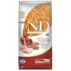 Farmina N&D Ancestral Grain корм для взрослых стерилизованных кошек, низкозерновой, курица и гранат 1,5 кг