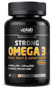 3 упаковки Омега жирные кислоты vplab Strong Omega-3 (60 капсул), нейтральный (по акции 3=2, цена 1 упаковки 502₽)