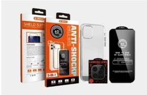Комплект 3в1 G-Rhino   iPhone 12 Pro Max   Защитное стекло на экран + противоударный силиконовый чехол + защитное стекло на камеру
