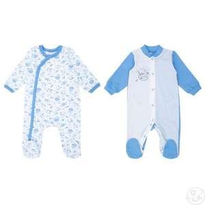 Комбинезон 2 шт Leader Kids, цвет: белый/голубой (размеры 56, 62, 68, 74)