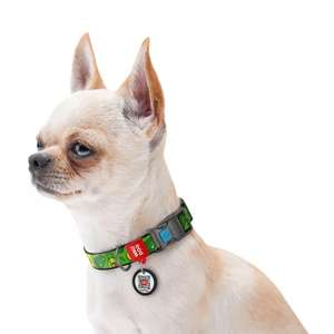 """Нейлоновый ошейник для собак WAUDOG Nylon c QR паспортом, с рисунком """"Авокадо"""""""