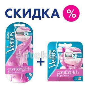 Набор VENUS COMFORTGLIDE SPA BREEZE бритва и 2 кассеты + сменные кассеты 4 шт. (Польша)