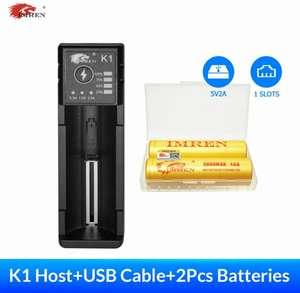 Зарядное устройство для аккумуляторов с функцией быстрой зарядки + 2 аккумулятора в комплекте