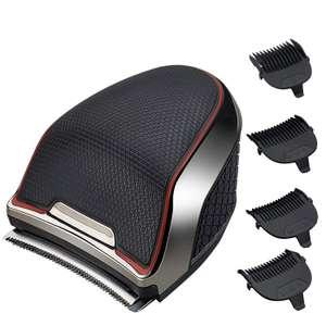 Машинка для стрижки IndeMan беспроводная, съёмные лезвия, дополнительные насадки + подарок накидка для стрижки волос, серый металлик