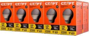 Лампы СТАРТ LED E27, 10 Вт, свет белый теплый, 10 шт.