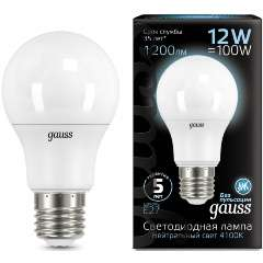 Упаковка из 10 ламп Gauss LED A60 12W E27 1200lm 4100K