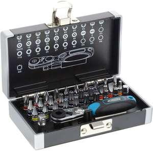 """Набор бит GROSS 11365 1/4"""" (52–зубная трещотка, магнитный адаптер, сталь S2, пластиковый кейс, 33 предм)"""