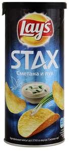 "Чипсы Lays Stax ""Сметана и лук"" 140г"