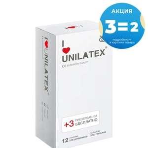 Презервативы Unilatex UltraThin 3 пачки по 12 шт + 3 шт. в пачке в подарок