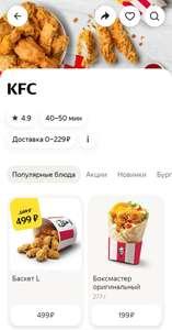 Баскет L из KFC через Яндекс.еда