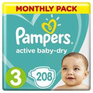 Подгузники Pampers Active Baby-Dry 6–10 кг, размер 3, 208шт. на Tmall