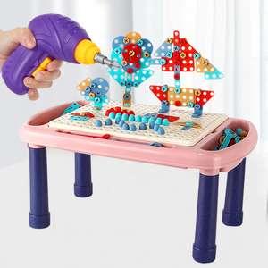 Набор - конструктор (стол, детали + электродрель) MOBUTA на Tmall + еще подборка игрушек в описании (напр, робот Акула)