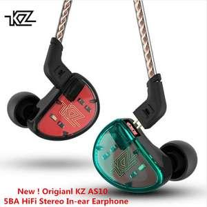 Арматурные 5-драйверные наушники  KZ AS10 с микрофоном за 41.54$