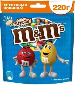 Драже M&M's криспи, с хрустящим центром, 220 г (в приложении Самокат)