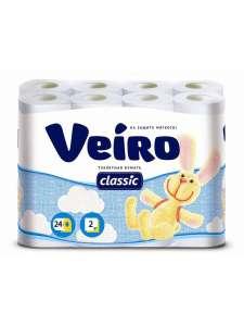 Бумага туалетная Veiro Classic белая 2-слойная 24 рулона