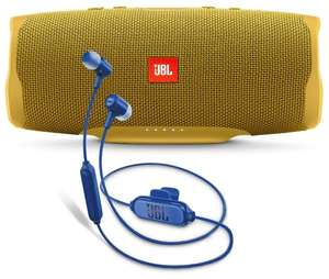 Портативная акустика JBL Charge 4 + наушники E25BT mustard yellow/blue