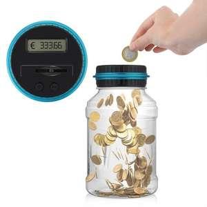 Копилка стеклянная банка со счетчиком монет за $6.89