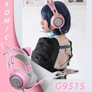 Проводные наушники SOMiC G951S (розовые)