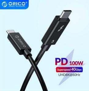 Кабель ORICO Thunderbolt 3,0 USB-C,100W, 40 Гбит/с.