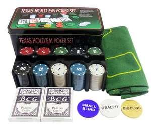 Набор для покера Holdem Light на 200 фишек с номиналом в жестяной коробке