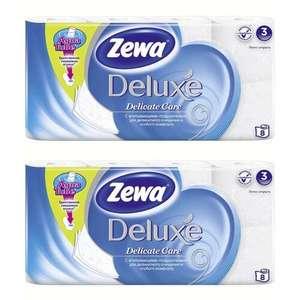 Туалетная бумага Zewa Deluxe Белая, 3 слоя 2 упаковки по 8 рулонов (1+1=3)