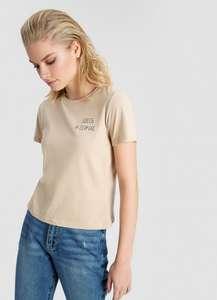 Женская короткая футболка со слоган-принтом 100% хлопок