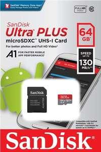 Карта памяти MicroSD SanDisk 64GB Ultra PLUS (с баллами 445₽)
