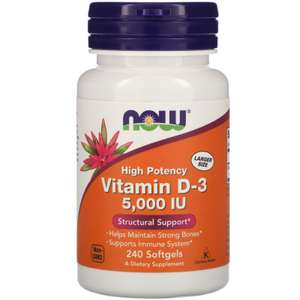-20% на Витамины D-3 (например Now Foods Витамин D3, 5000 МЕ, 240 мягких таблеток)