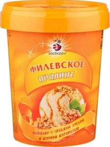 Мороженое пломбир Айсберри Филевское пралине с грецким орехом и мягкой карамелью, 550г (Возможно не все города)