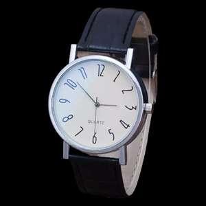 Кварцевые часы с кожаным ремешком popacc