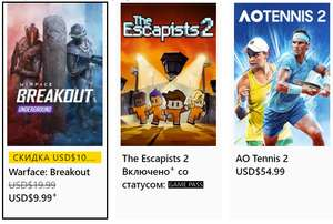 [Xbox Gold] Бесплатные выходные в AO Tennis 2, Warface: Breakout, The Escapists 2