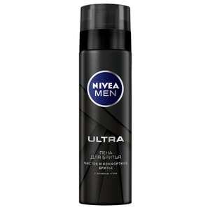 Пена для бритья Nivea Ultra с активным углем, 200 мл