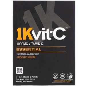 Смесь 18 витаминов и минералов для шипучего напитка, 1Kvit-C, апельсиновый вкус, 1000мг, 3пакетика по 6,90г (1 шт. на аккаунт)