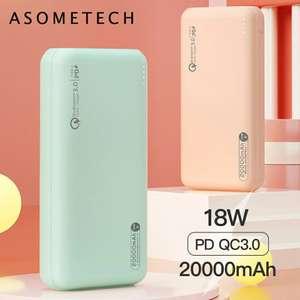 Внешний аккумулятор Asometech 20000 мАч 18вт PD 3.0
