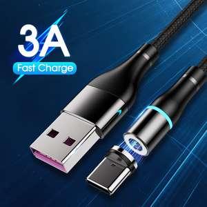 YKZ магнитный кабель для зарядки Type-C/MicroUSB/iPhone в нейлоновой оплетке